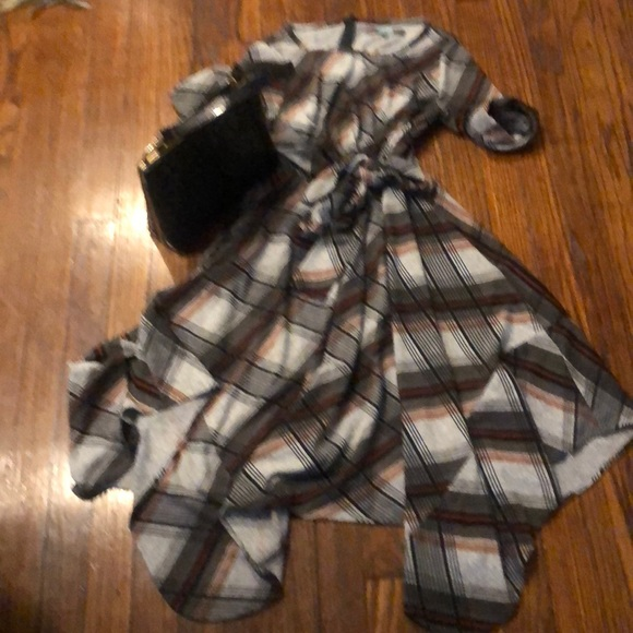 Eva Franco Dresses & Skirts - EVA FRANCO Pretty in Plaid Mock Wrap Dress